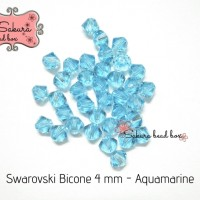 Kristal Swarovski - Bicone Aquamarine Color