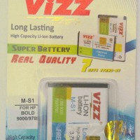 Baterai Double Power VIZZ MS1 - 3000 mAH untuk semua Onyx 1,Onyx 2 dan Bold, Delta 9000,9700,9780