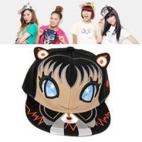 C07301 topi korea snapback snsd embroidery cat ear black