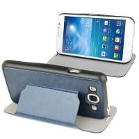 Samsung Galaxy Mega Duos 5.8 GT-I9152 Slim Flip Leather Case Cover with Holder [Biru Tua]