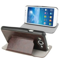Samsung Galaxy Mega Duos 5.8 GT-I9152 Slim Flip Leather Case Cover with Holder [Coklat]