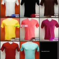 Kaos polos V-neck warna pendek Size : ML