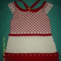 dress rajut merah putih bertali leher HIPO baby