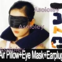 Inflatable Travel Pillow (Isi 3 Set : Bantal, Tutup Mata, & Ear plug)