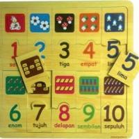 Puzzle Angka dan Berhitung~Mainan Kayu~Promo