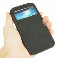 S View Flip Leather Case Cover with Sleep Wake-up & Call Display for Samsung Galaxy S IV i9500 (Black)