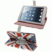 Apple iPad Mini Hello Kitty Leather Case Cover with Holder (United Kingdom Flags Background)