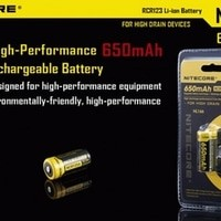 Batre / Batere / Baterai / Battery Rechargeable Li-Ion / Lithium Ion CR123 3,7V Nitecore Real Capacity With Protection PCB