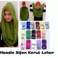 Jilbab Hoodie Kerut Leher