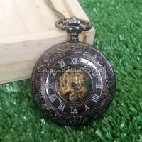 harga Pocket Watch Necklace / Kalung Jam Saku Black Rome Mechanic Skeleton Tokopedia.com