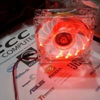 PC Case Fan Acrylic 8cm RED LED 12 SMD