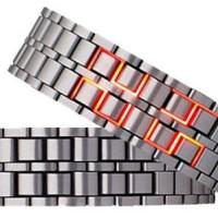 Jual Jam Tangan Iron Samurai Metal Silver LED Red Watch - JM0002 Murah