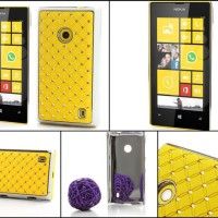 Bling Diamond Starry Sky Plated Hard Case for Nokia Lumia 520 525 - Yellow