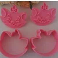 Set Cetakan Nasi / Roti / Kue Motif 2 Kucing (1 Set Isi 2)
