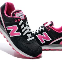 New balance women 574 pink black shoes (sport shoes)