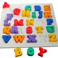 Mainan Edukatif - mainan balok kayu - Puzzle Chunky Huruf Besar