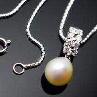 Kalung Mutiara air tawar asli berlapis emas putih (WG Pearl 038)