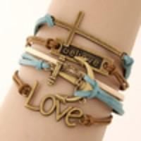 Gelang Korea Multi Charm Cross Believe Anchor Love Blue KB35805