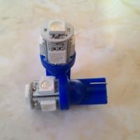 Lampu LED T10 Jagung 5 titik Biru (Tancep)