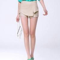 Chic Asymmetric Splicing High Waist Pure Color Shorts