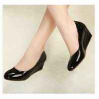Jual Sepatu Wedges Wanita JA08 Sintetis Glossy Murah