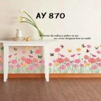 Pink Flowers Border AY870 - Stiker Dinding / Wall Sticker