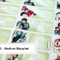 Ben10 Sticker MEDIUM Name Label. Stiker karakter Ben 10 lucu nama anak buku alat tulis charger kalkulator mainan tas laki cowok