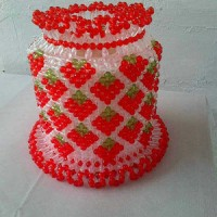 Tissue roll case handmade strawberry