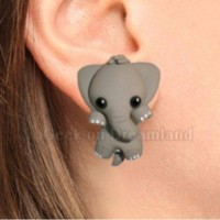 aksesoris anting handmade clay elephat gajah