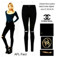 high waist disco jeans black knee ripped