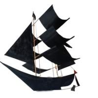 Layangan Perahu 3 Dimensi Hitam