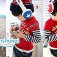Shensukei stripe red top + jeans