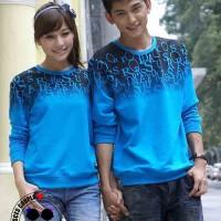 Kaos Couple Lengan Panjang / Baju Pasangan Abjad Biru 8373