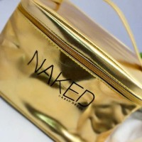 NAKED GOLD COSMETIC BAG READY ! women woman wanita tas emas mac lip