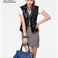 tas selempang biru blue glossy pita wanita import premium leather pu