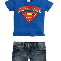 H&M TEE+SHORT JEANS PANTS BLUE