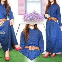 gamis jeans sanko fit S.M.L free belt polos