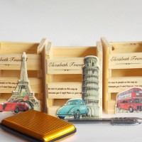 Pen Holder / Kotak Alat Tulis Unik Vintage Wood (Paris, London, Roma)