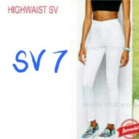 harga Celana Soft Jeans High Waist Sv Disco White / High Waisted Navy Putih Tokopedia.com