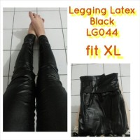 Legging Latex Doff Black Hitam Kulit