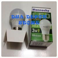 Lampu Rumah Bohlam LED Hannochs 3 watt / 250 lumens 3watt putih / murah setara philips led 3w garansi