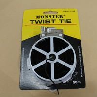 Pengikat Kabel / Twist Tie 500 meter Warna Hitam Merk MONSTER