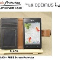 LG Optimus L4-II E440 : MP Flip Cover Case FREE SP (BLACK)