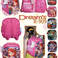 Tas Sekolah Ransel Sofia, Minion, Barbie, Ben 10, Cars, Thomas, Ultraman DREAM R-909