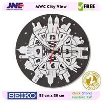 Jam dinding - MWC City View - JNE 1KG - Garansi Seiko 2 Tahun!