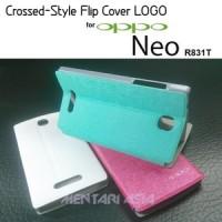 Case Oppo Neo R831t : Original Crossed-style Flipcover Logo