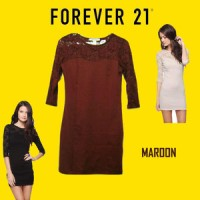 Mini Dress Sweetheart Lace Bodycon Forever 21 Maroon (Merah)