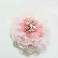 Pink Lace Brooch - Bros Bunga renda pink