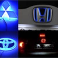 Emblem Mobil Car Logo Nyala Lampu LED Honda Toyota Mitsubishi Blue lamp biru abs chrome 3M original otomotif modifikasi