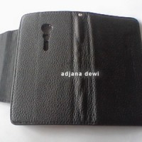 Wallet Book Leather Case Sony Xperia Ion LT28i Hitam